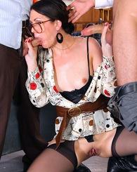 Horny brunette Sarah Shevon...