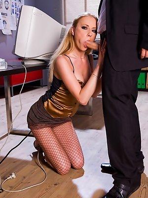 A secretary in fishnet...